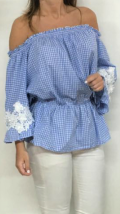 blusa azul vichy