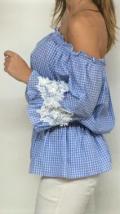 blusa vichy azul