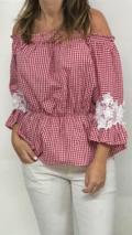blusa roja vichy