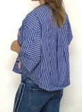 camisa de rayas bordada