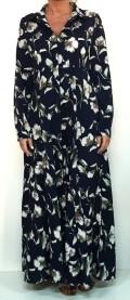 vestido camisero en color azul marino con estampado