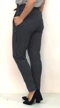 pantalón rayas gris con lazo