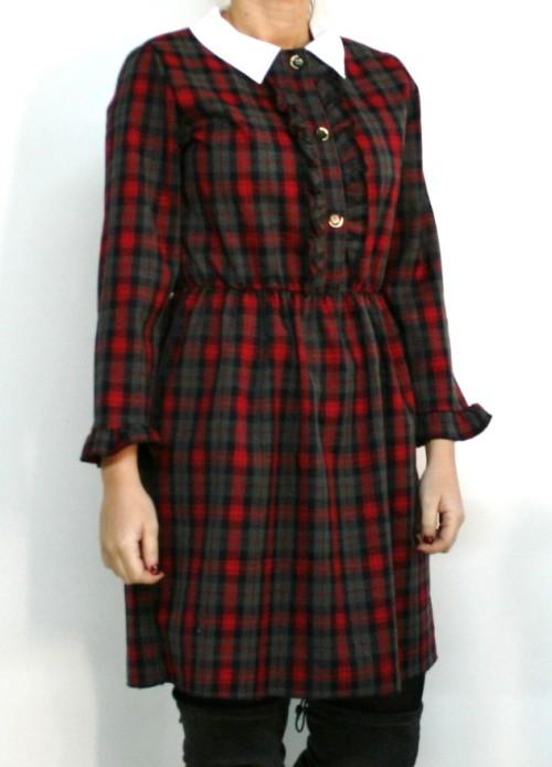 vestido de cuadros con cuello camisero