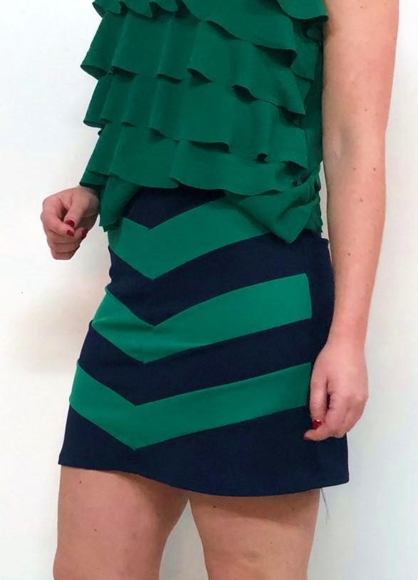 Falda Azul Rayas Verdes – TvisT Moda